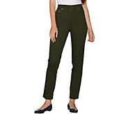 Denim & Co. Petite Slim Leg Classic Waist 5-Pkt Stretch Pants - A94106