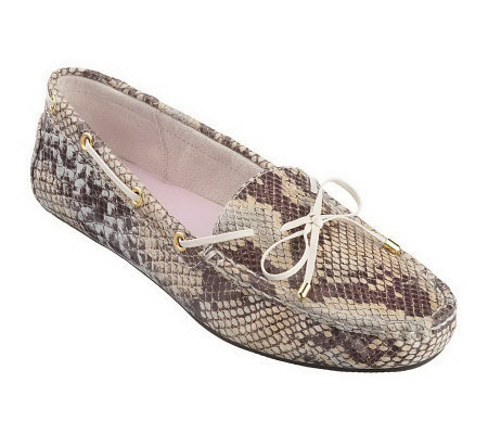 Isaac Mizrahi Live! Snake Embossed Leather Moccasins
