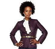 Isaac Mizrahi Live! Lamb Leather Button Front Jacket - A202807