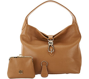 Dooney & Bourke Leather Hobo with Logo Lock and Accessories - A203807