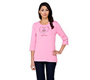 Quacker Factory Sweet Love Cupcake 3/4 Sleeve T-shirt - A227007
