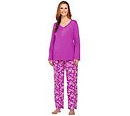 Carole Hochman Wallpaper Rose Applique Cotton Jersey 2pc Pajama Set - A227907