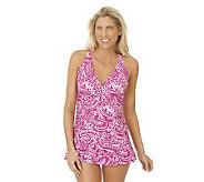 Ocean Dream Signature Paisley Pop Shirred X-Back Swim Dress - A231607