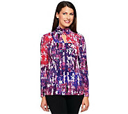 George Simonton Printed Milky Knit Seamed Top with Embellishment - A238207