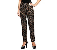 Susan Graver Printed Liquid Knit Slim Leg Pull-on Pants - A239307