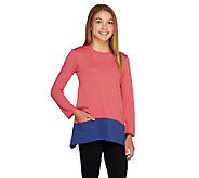 LOGO Littles by Lori Goldstein Knit Top with Contrast Hem and Pockets - A259507