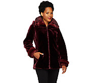 Dennis Basso Faux Sheared Mink Bomber Jacket with Detachable Hood - A259807