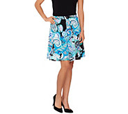 Susan Graver Printed Liquid Knit Pull-On Split Skirt - A263007