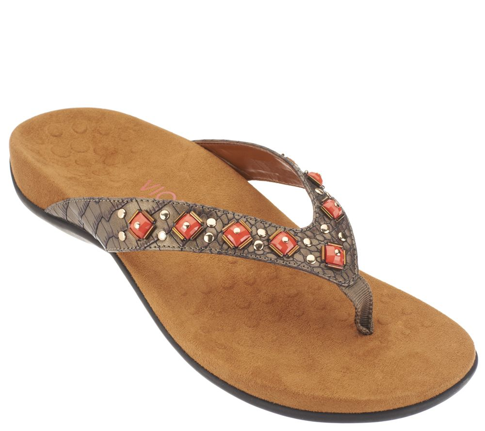 Vionic w/ Orthaheel Embellished Thong Sandals - Floriana - Page 1 — QVC.com