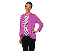 Bob Mackies Jersey Knit Feather Print Tank and Solid Cardigan Set - A263607