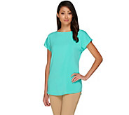 Susan Graver Stretch Woven Scoop Neck Dolman Sleeve Top - A263807