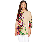 Attitudes by Renee Floral Printed 3/4 Sleeve Jersey Tunic - A263907