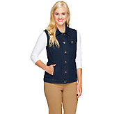 As Is Denim & Co. Stretch Denim Button Front Vest with Pockets - A265107