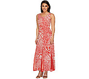 George Simonton Printed Maxi Dress with Solid Mesh Godets - A265407