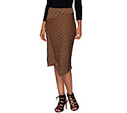 G.I.L.I. Asymmetric Stripe Faux Wrap Scuba Skirt - A268407