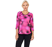 Denim & Co. Active Printed Jersey Top with Solid Side Panels - A270107