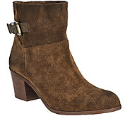 Franco Sarto Suede Slip-on Ankle Boots w/ Side Buckle - Monument - A271307