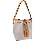 As Is Dooney & Bourke Claremont Woven Embossed Drawstring Bag - A273707