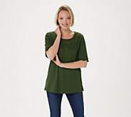 As Is Quacker Factory Smile N Style Scalloped Elbow Sleeve T-Shirt - A274007