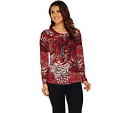 Susan Graver Artisan Printed Liquid Knit Embellished Top - A282107