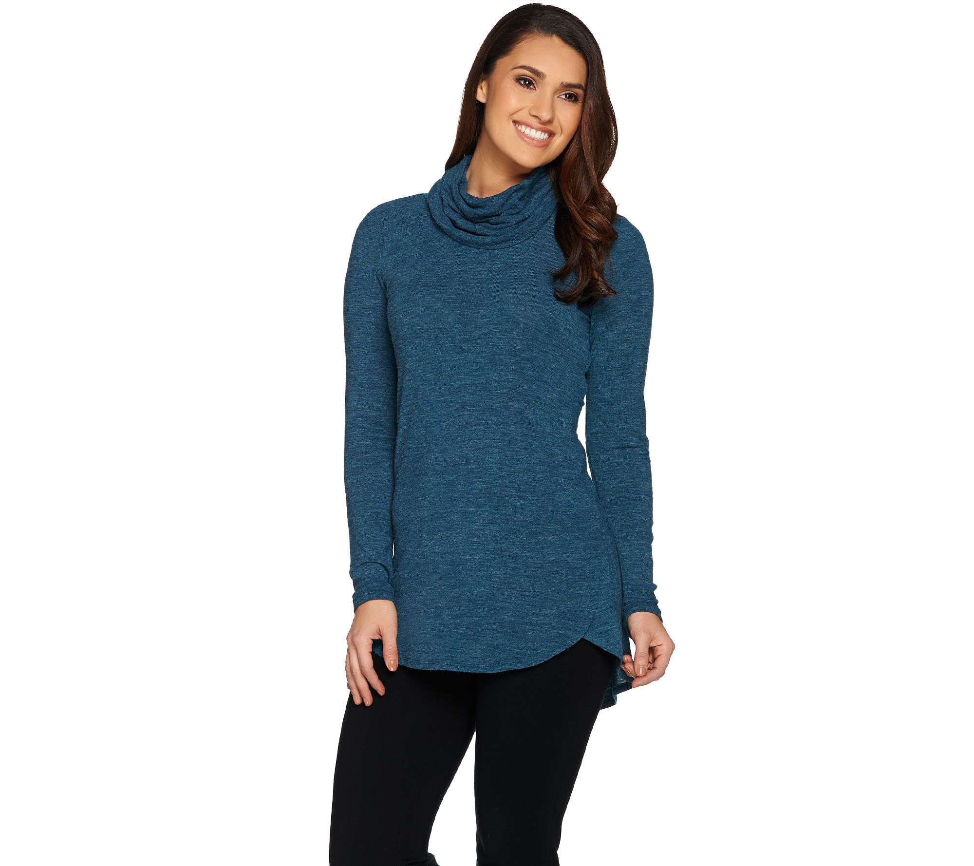 Lisa Rinna Collection Cowl Neck Sweater Tunic with Hi/Low Hem ...