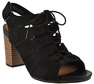 Clarks Nubuck Leather Block Heel Ghillie Sandals - Banoy Wanetta - A288107
