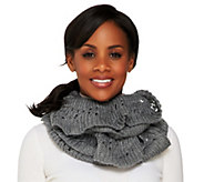 As Is Amiee Lynn Open Knit Ruffled Edge Infinity Scarf - A289207
