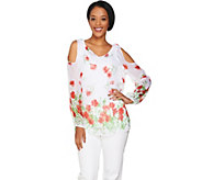 Dennis Basso Floral Print Cold Shoulder Blouse with Cami - A289807