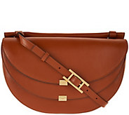 As Is H by Halston Glazed Leather Saddle Bag with Flap Front - A291607