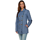 As Is Dennis Basso Water Resistant Denim Print Trench Coat - A294507
