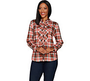 Denim & Co. Stretch Weave Plaid Button Front Long Sleeve Shirt - A299207