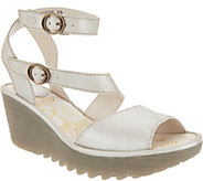 FLY London Leather Multi-Strap Wedge Sandals - Yisk - A305107