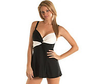 Carol Wior Classic Black and White Swim Dress - A313307