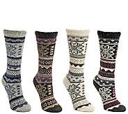 MUK LUKS Womens 4 Pack Snowflake Crew Socks - A337907