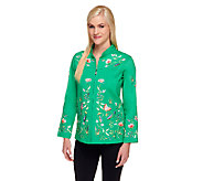Quacker Factory Embroidered Mandarin Collar Stretch Jacket - A68107