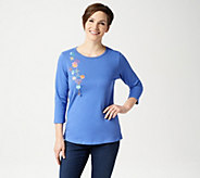 Quacker Factory 3/4 Sleeve T-Shirt with Fun Dangle - A198608