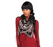 Luxe Rachel Zoe Bursting Feather Printed Square Scarf - A226108