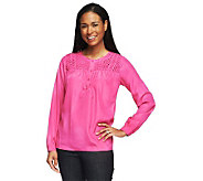 Isaac Mizrahi Live! Long Sleeve Lattice Yoke Henley Top - A230308