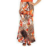 Susan Graver Printed Liquid Knit Gored Petite Maxi Skirt - A232008