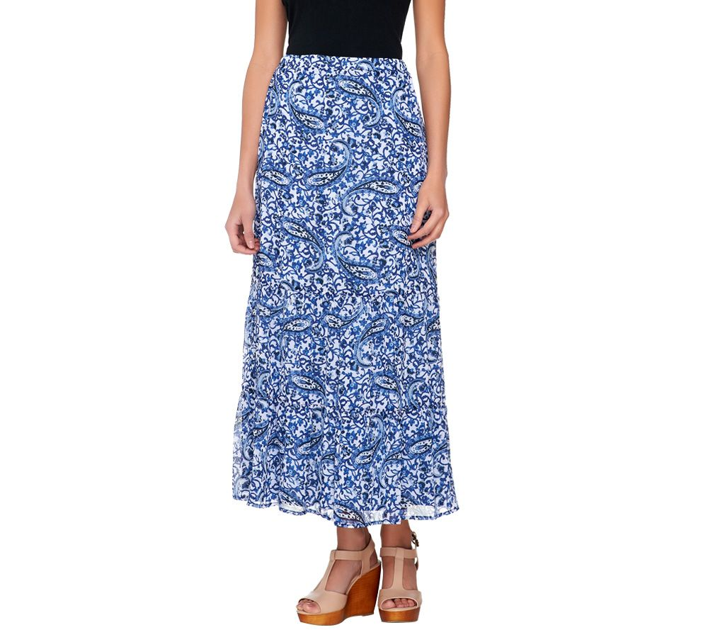 liz claiborne new york tiered paisley printed maxi