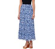 Liz Claiborne New York Petite Tiered Paisley Printed Maxi Skirt - A233908