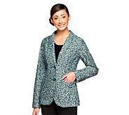 Isaac Mizrahi Live! Scroll Jacquard Notch Collar Blazer - A235208