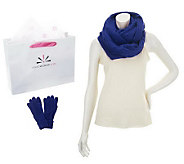 Isaac Mizrahi Live! Eternity Scarf and Glove Set with Gift Bag - A239108