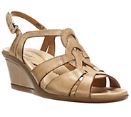 Earth Jasmine Woven Leather Wedge Sandals w/ Back Strap - A253508