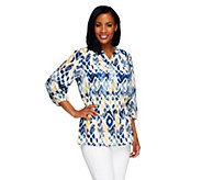 Denim & Co. Printed Georgette Blouse with Knit Tank - A254308