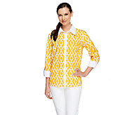 Bob Mackies Bamboo Trellis Printed Button Down Shirt - A255008