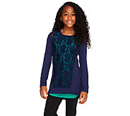LOGO Littles by Lori Goldstein Lace Front Knit Top with Tank Twin Set - A257808