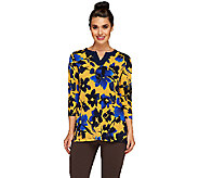 Susan Graver Printed Liquid Knit Split Neck 3/4 Sleeve Tunic - A258608