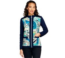 "As Is"" Susan Graver French Terry Zip Front Printed Jacket w/Pockets"
