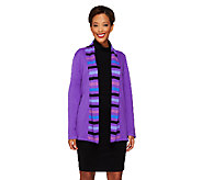 Bob Mackies Open Front Striped Shawl Collar Cardigan - A259408